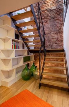 Basement stairs ideas hidden rooms Best Ideas - Image 10 of 24 Small Staircase, Entryway Stairs, Rustic Stairs, Basement Stairs, Staircase Design, Open Entryway, Entryway Ideas, Spiral Staircase, Entryway Decor