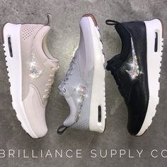 Get Ready For Spring With These Nike Air Max Thea Premium Shoes! Which Color Is Your Favorite?! Shop Our Spring Selection Of Swarovski® Embellished Nike® Shoes At Brilliance Supply Co.!✨Because Life Is Better With A Touch Of Bling On Everything!✨