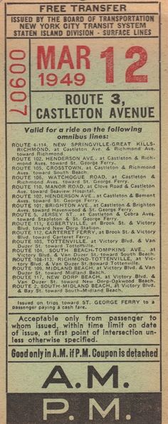 Bus transfer from New York City Transit System - Board of Transportation (Staten Island division) (1949)