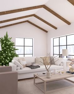 Eleni Psyllaki - Crisp and cozy holiday living room Chic Living Room, Formal Living Rooms, Home And Living, Living Spaces, Oh My Home, Scandinavian Style Home, Visualisation, White Rooms, Home Additions