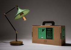 Gramophone Lamp Mint Green Handmade Pipe Lamp by KitboxDesign
