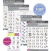"Tone & Tighten Home/Gym Posters Set of 5 Exercise Charts 19""x27"" NOW LAMINATED + (FREE 8-Minute Abs Workout Poster 12""x18"" Included) - Fitness Programs for Women - Personal Trainer Approved Workouts"