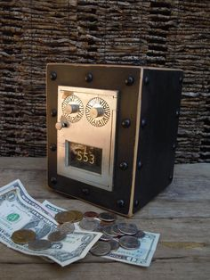 Post office Box Piggy Bank, Chester Mannly Black Over Reclaimed Wood with Silver Door