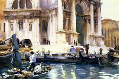 John Singer Sargent (USA, 1856-1925) - The Façade of La Salute  - 1903 - watercolor - private collection