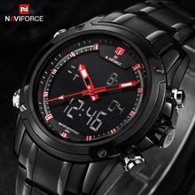 NAVIFORCE relojes hombres Deportes relojes acero Negro hora Dual Digital de Cuarzo Reloj impermeable casual de negocios de japón movt del reloj(China (Mainland))