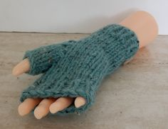 Fingerless Mittens Small Ladies Hand Knitted Chunky Duck Egg Blue Fingerless Gloves Mittens (warm autumn winter spring rustic aran) - pinned by pin4etsy.com