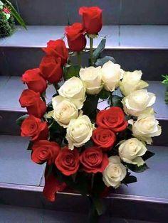 Red And White Roses For You Kırmızı ve beyaz güller senin için Valentine Flower Arrangements, Funeral Flower Arrangements, Beautiful Flower Arrangements, Floral Arrangements, Beautiful Flowers, Ikebana, Church Flowers, Funeral Flowers, Deco Floral