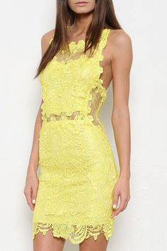 LuLu Lace Dress   Foi Clothing Boutique   Lovely Lace   Open Back   Strappy Back   Yellow Dress   Must Have   Daring Details   Flattering Fit   Amazing Length   Check It Out From All Angles On Foiclothing.com   Spring and Summer Fashion   Women's Boutique  