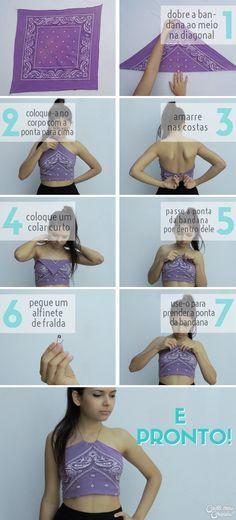 Bandana   Bandana as shirt   Bandana como blusa   5 Ways to wear a bandana   5 Formas de usar bandanas   http://cademeuchapeu.com