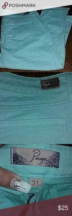 Paige super skinny crop denim colored pants, sz 31 EUC turquoise cropped skinny ankle jeans, size 31 waist, pic 4 shows the style brand and cut. The actual item for sale is a washed aqua. Paige Jeans Pants Ankle & Cropped