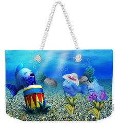 Tropical Vacation Under The Sea Weekender Tote Bag  by Gravityx9  Designs.  The tote bag is machine washable and includes cotton rope handle for easy carrying on your shoulder.  All totes are available for worldwide shipping and include a money-back guarantee. at Pixels and FineArtAmerica