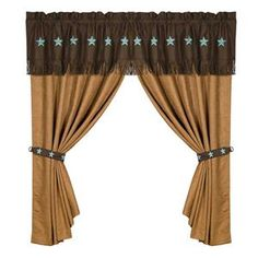 HiEnd Accents Pair of Laredo Turquoise Star Curtains with Valance 120 x 84 #DelectablyYours Western Decor