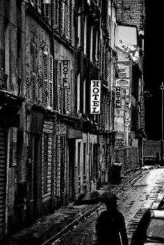 Moody art photo of gritty street in the Belleville area of Paris
