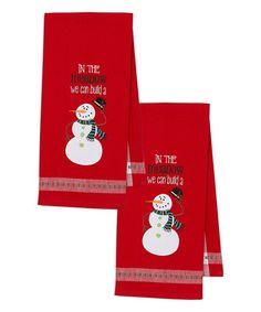 Another great find on #zulily! Snowman Embellished Dish Towel - Set of Two #zulilyfinds