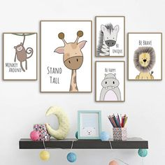 Zebra Hippo Giraffe Lion Crocodile Nursery Wall Art Canvas Painting Nordic Posters And Prints Pictures Baby Kids Room Decoration Nursery Canvas Art, Nursery Prints, Canvas Wall Art, Safari Nursery, Wall Art Prints, Animal Theme Nursery, Woodland Nursery, Fun Prints, Animal Bedroom