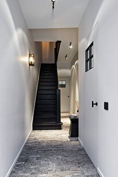 Black stairs and street pavers Interior Stairs, Interior Design Living Room, Interior And Exterior, Hallway Inspiration, Interior Inspiration, White Houses, My Dream Home, Interior Styling, Future House