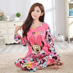 Woman Pajamas Sets 2017autumn Long Sleeve Thin Cotton Home Wear Cloth  Cartoon Print Loose Sleepwear Set Pyjama For Women 2b2023071