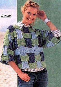 Оригинальный вязаный пуловер из полос.