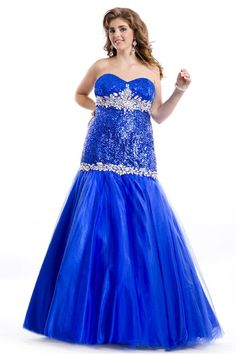 Wholesale Plus Size Prom Dresses - Buy Sequin Fabric Royal Blue Plus Size Prom Dresses Sheath Sweetheart Neckline Dropped Waist Crystal Detailed Long Plus Size Gowns New 2014, $140.16   DHgate