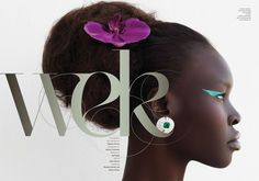 Alek Wek featured in a heavenly floral-inspired editorial for AS IF Magazine, Issue 2.
