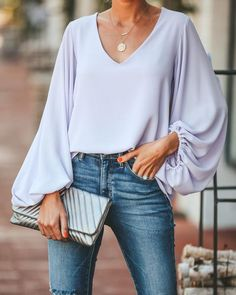 Bells Will Be Ringing Balloon Sleeve Blouse - Lavender