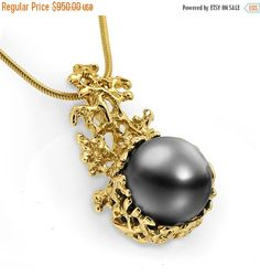 ON SALE - CORAL 14K Gold Black Tahitian Pearl Pendant Necklace, Gold Pearl Necklace Wedding, Black Pearl Pendant, Tahitian Pearl Necklace