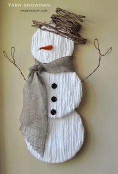 Yarn Snowman Wall Art Make a cute Yarn Snowman Tutorial on Make a cute Yarn Snowman Tutorial on Snowman Wreath, Snowman Crafts, Christmas Projects, Yarn Crafts, Holiday Crafts, Diy And Crafts, Christmas Wreaths, Christmas Decorations, Christmas Ornaments