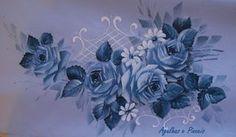 Pintura em Tecido Passo a Passo: Como pintar folhas e rosa em azul e branco