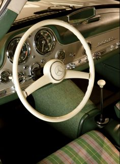 interior of ralph lauren's 1955 mercedes benz alloy body gullwing.