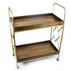 Sagebrook Home Metal / Wood Bar Cart - Gold - 11803