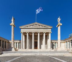 [Building] Academy of Athens Greece. - Architecture and Urban Living - Modern and Historical Buildings - City Planning - Travel Photography Destinations - Amazing Beautiful Places Castel Del Monte, Mercure Hotel, Neoclassical Architecture, Famous Buildings, Parthenon, Modern City, Thessaloniki, Old Houses, Arquitetura