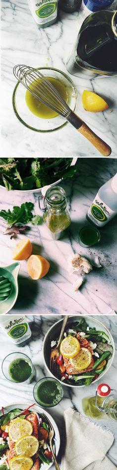 Green Juice Salad Dressing Recipe - Directions: mix together 2 garlic cloves (crushed), 1 tbsp white wine vinegar, 1/2 lemon juiced, 1/4 cup Evolution Fresh Sweet Greens & Lemon juice, 1/2 tbsp dijon mustard, 1/2 tsp salt & pepper. Whisk in 1/3 cup olive oil. Drizzle over mixed greens and enjoy!