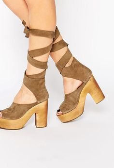 ASOS - Free People Wrap Taupe Heeled Clog Sandals