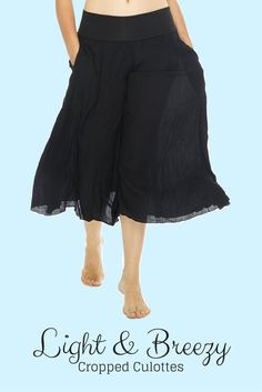 Go with the flow in these comfortable, feminine palazzo pants.A cropped version of our beloved classic culottes, these wide-leg rayon trousers take you everywhere from office casual to yoga class chic. Bohemian Look, Boho Chic, Culotte Pants, Trousers, Boho Girl, Palazzo Pants, Fashion Brands, Wide Leg, Flow