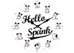 HELLO SPANK OROLOGIO VETRO 38CM FIGURINE  Orologio muro Hello Spank in vetro di colore bianco, i minuti vengono raffigurati da diverse espressioni.
