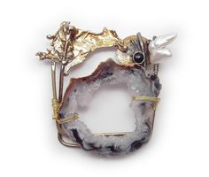 Crystal Cave wildpearl and black onyx Pin  Brooch  in Sterling Married Metals by Cathleen McLain McLainJewelry by mysticafelicity on Etsy