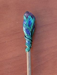 Amethyst and Polymer hair stick $12.00