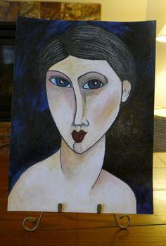 Original Whimsical Mixed Media Girl Modigliani by MixedMediaDiva, $125.00