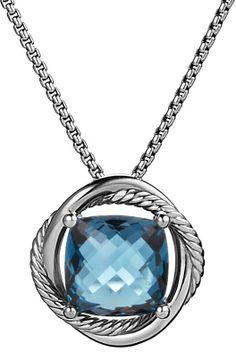 David Yurman Infinity Medium Pendant with Hampton Blue Topaz on Chain on shopstyle.com
