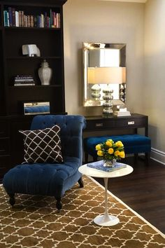turquoise la royal blue chocolate brown chic living room design with beveled mirror - Brown And Blue Living Room