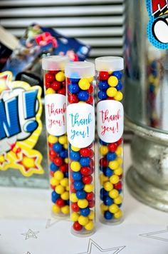Superhero favor tubes from a Wonder Woman Superhero Birthday Party on Kara's Party Ideas | KarasPartyIdeas.com (15)