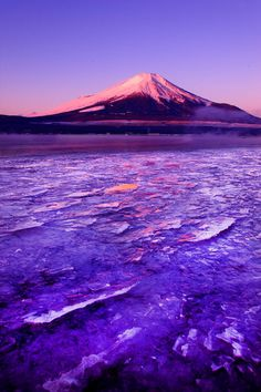 Winter sunrise on the ice of Lake near Mount Fuji, Japan, by Prasit Chansareekorn