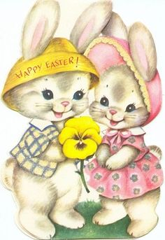 Vintage Easter Card - boy and girl bunnies with yellow pansy.