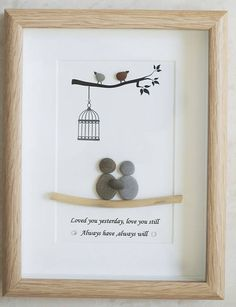 Pebble Art framed Picture Couple  Love