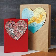 World Map Cards ~ This caught my eye, totally DIYable