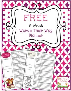 Free Words Their Way 6 Week Planner