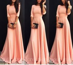 dress long sleeve dress coral coral dress long dress pink fashion chic tumblr pinterest peach sleeveless dress maxi dress zaful casual dress summer dress light pink pink dress blush pink prom dress floor length dress elegant dress pink maxi dress