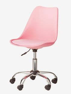 Pink Primary Office Chair with Casters – Homework on wheels with this mobile office chair! A clean and contemporary design that sticks to all room decorations! This cha by Purple Rooms, Pink Room, Pink Home Decor, Home Design Decor, Table Design, Personalised Family Tree, Small Room Bedroom, Cozy Place, Metal Wall Decor