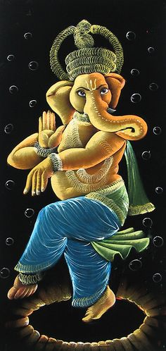 Lord Ganesha as Nataraja - Paintings on Velvet (Painting on Velvet Cloth - Unframed) Sri Ganesh, Ganesha Art, Lord Ganesha, Om Gam Ganapataye Namaha, Dancing Ganesha, Lord Hanuman Wallpapers, Velvet Painting, Lord Shiva Painting, Cute Krishna