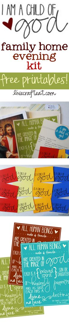 """""""I Am a Child of God"""" Family Home Evening Kit. (2013 primary theme.) So easy to put together! FREE PRINTABLES @ www.livecrafteat.com"""